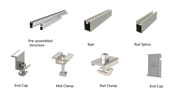 Aluminum accessories of ground mount structure